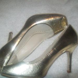 gold bcbggirls open toe dress metallic pump 8.5